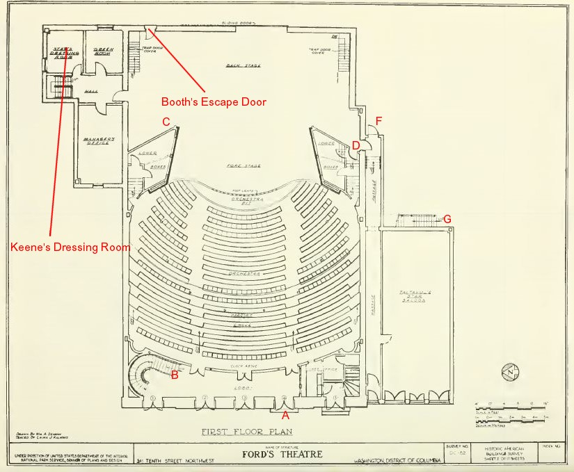 Civil war blog the architecture of fords theatre laura keene orchestra level plan malvernweather Images