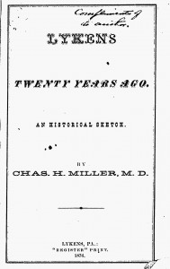 An Historical Sketch, the title page to Dr. Miller's book