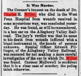 The Pittsburg Post from June 29, 1889, reporting that the death of Dr. Miller was murder