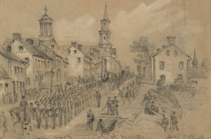 Union soldiers marching through Middletown on their way to battle
