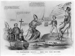 "Cartoon depicting Anti-Catholic sentiments from 1863. Anti-Catholicism ran parallel to nativist or ""Know Nothing"" ideals of the time."