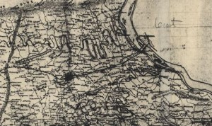 The area of Harrisburg in his 1863 map