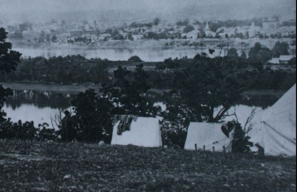 View of Harrisburg from across the river in June or July 1863