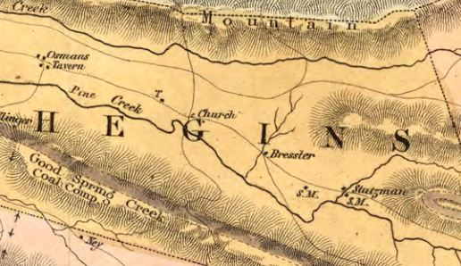 1855 map of Hegins Township, with both Bressler and Stutzman families present.
