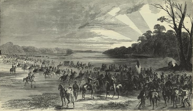 Confederates crossing the Potomac River in June , 1863