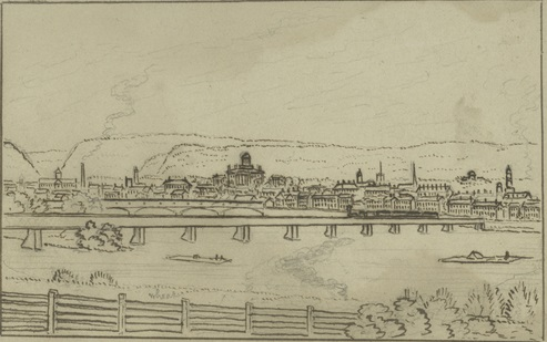 """Sketch of """"Southern View of Harrisburg,"""" made in 1863"""