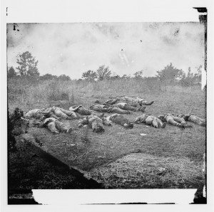 The bodies of Confederate soldiers lined up for burial.