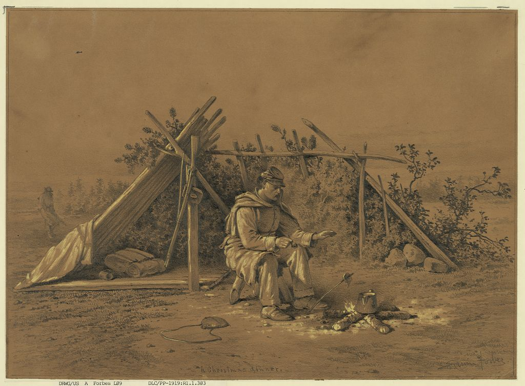 "Edward Forbes sketched ""A Christmas Dinner,"" in 1876. It depicts a solitary soldier on picket duty during the war. (LOC)"