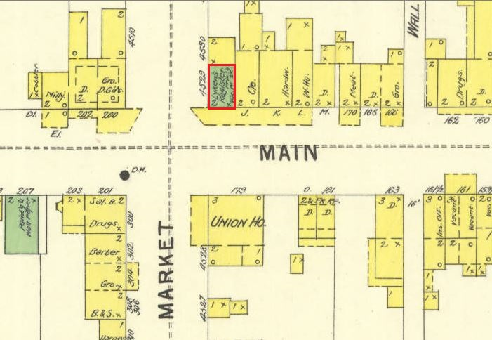 Sanborn map showing the Square in Lykens, 1896
