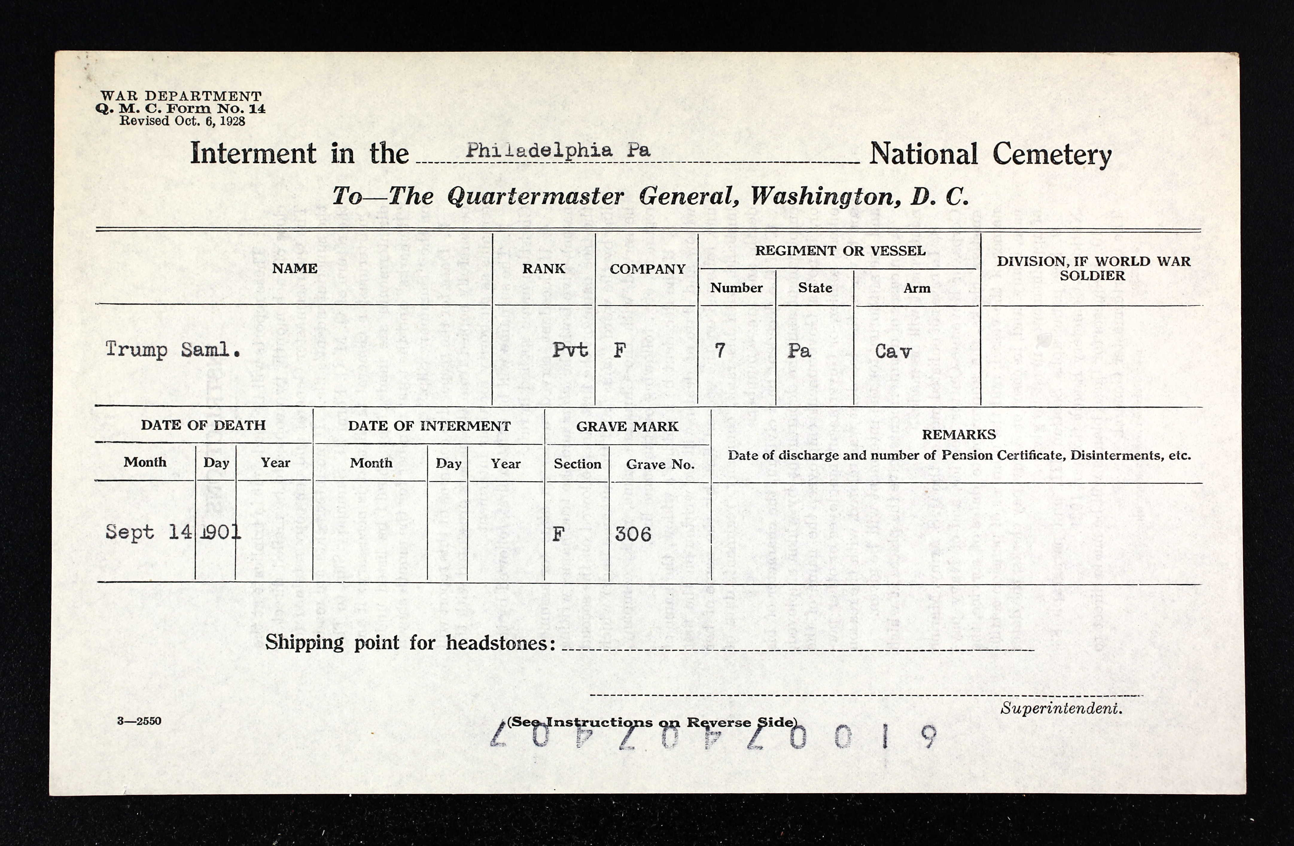 Civil war blog samuel trump boatman and 7th pennsylvania cavalry a philadelphia death certificate for samuel trump confirms the death date but gives his birth date as january 1827 a registry from the national cemetery aiddatafo Image collections