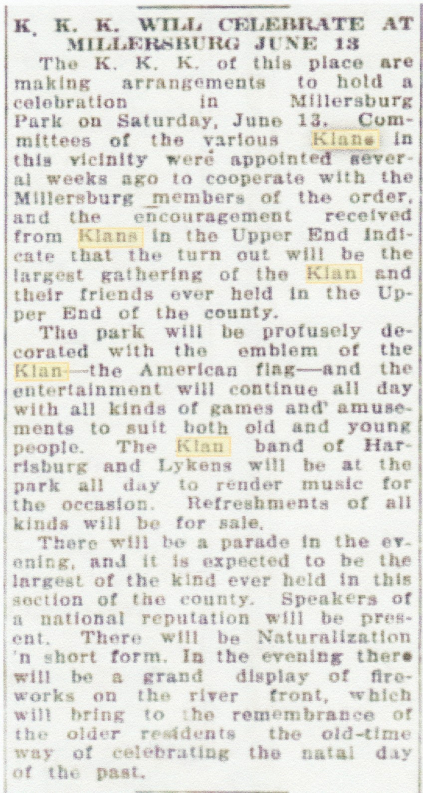 civil war blog massive ku klux klan rally in millersburg  on saturday 13 1925 the ku klux klan planned for a celebration to be held at millersburg s park millersburg dauphin county pennsylvania