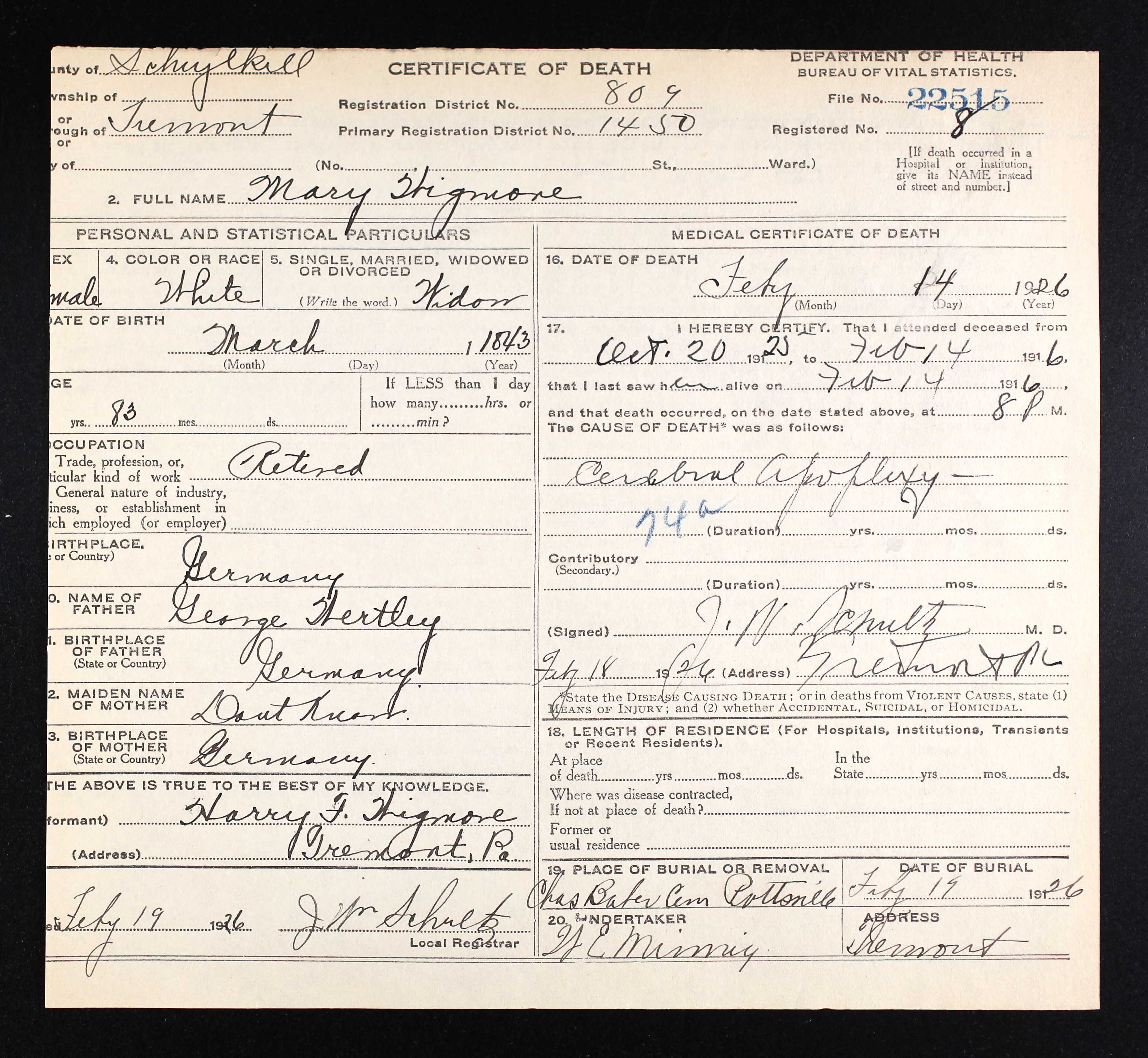 Civil war blog sampson wigmore of tremont coal iron police the pennsylvania death certificate for the son henry f wigmore is shown above he died in tremont on 23 september 1943 an unknown person martha deibert 1betcityfo Gallery