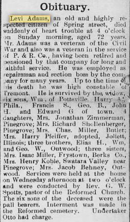 Obituary of Levi S  Adams of Tremont, 1911 | Civil War Blog